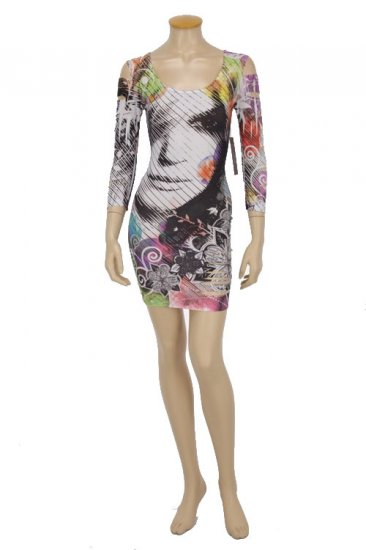 Face Print with Color Bubbles Lazer Print Dress Small