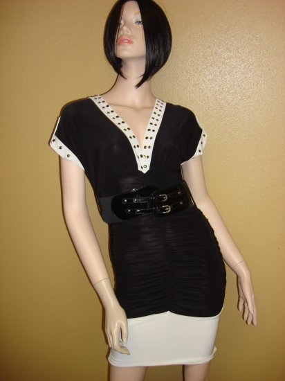 Black and White Belted studded Mini Dress Size Small