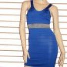 SO FABULOUS BLUE WITH SILVER TRIM WAIST BANDAGE DRESS SIZE SMALL 2 - 4