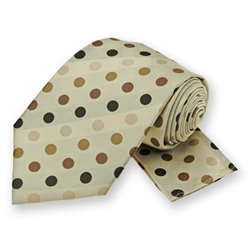 Beige Dots Tie and Pocket Square Set