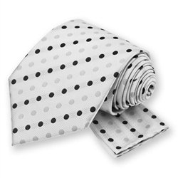White Polka Dotted Tie and Pocket Square Set