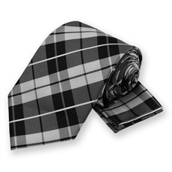 White Terrier Plaid Tie and Pocket Square Set