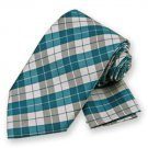 Teal Blue Garden Plaid Tie and Pocket Square Set