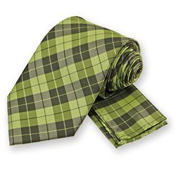 Lime Green Garden Plaid Tie and Pocket Square Set