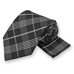 Black Lennox Plaid Tie and Pocket Square Set