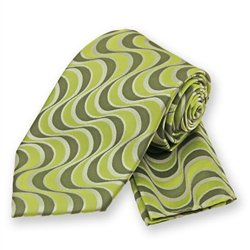 Lime Green Wavy Retro Print Tie and Pocket Square Set
