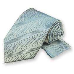 Silver Ombre Wave Tie and Pocket Square Set