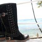 ♡♥ 6Sz Beverly Feldman Black Suede Womens Boots Eur 36 ♥♡