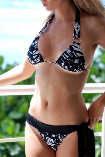 *L* *HOT Brazilian Triangle Bikini TOP*  Black Splash Swimsuit Swimwear NWT Large