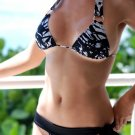 *L* *HOT Brazilian Triangle Bikini TOP*  Black Splash Swimsuit Swimwear NWT Large