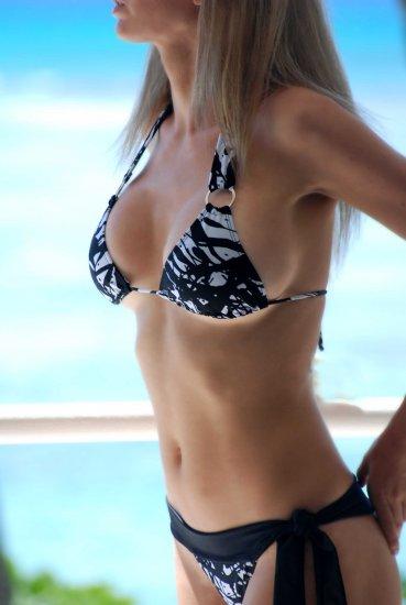 *L* *HOT Brazilian Cut Bikini BOTTOMS*  Black Splash Side Tie Swimsuit Swimwear NWT Large