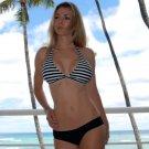 ♡♥L *HOT Brazilian Bikini TOP* Black & White Fixed Triangle Swimsuit Swimwear NWT Large♥♡
