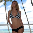 ♡♥S *HOT Brazilian Bikini TOP* Black & White Fixed Triangle Swimsuit Swimwear NWT Small♥♡