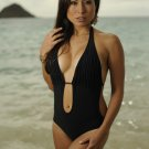 L *HOT Brazilian Monokini* Black Pleated Bikini One Piece Swimsuit NWT Large