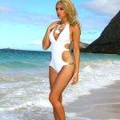 L *HOT Brazilian Monokini* White One Piece Beach Swimsuit Cute As A Bunny Vix-en Large Swimwear