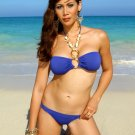 L *HOT Brazilian Rhinestone Bikini* Blue Beach Swimsuit Cute As A Bunny Vix-en Swimwear 14kt Gold!