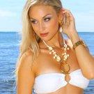 XS *HOT Brazilian Rhinestone Bikini* White Beach Swimsuit Cute As A Bunny Vix-en Swimwear 14kt Gold!