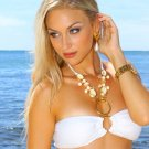 M *HOT Brazilian Rhinestone Bikini* White Beach Swimsuit Cute As A Bunny Vix-en Swimwear 14kt Gold!