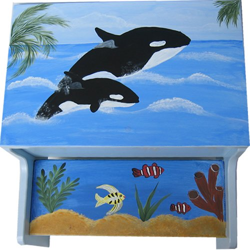 Hand Painted Killer whale and Under the sea Step Stool