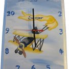 Hand Painted Airplane Clock
