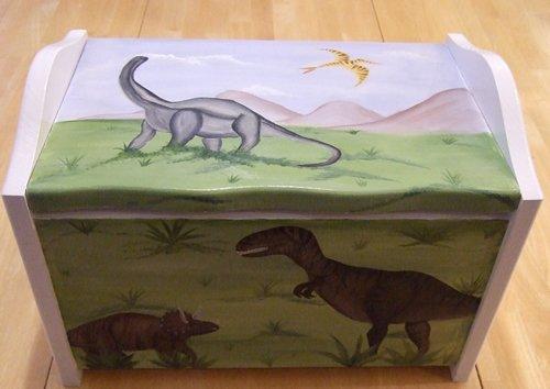Hand Painted Dinosaur Toy Box