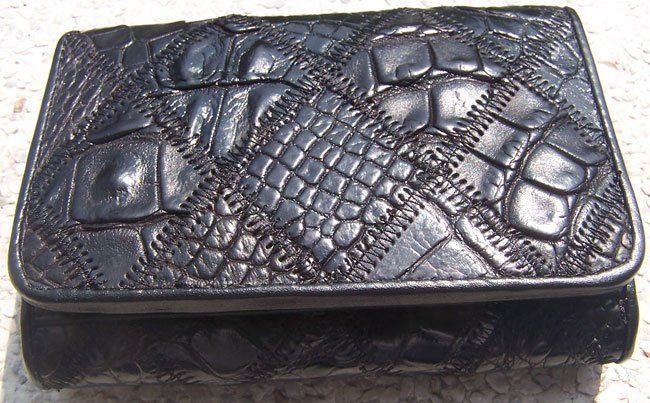 100% Genuine Black Crocodile 3 Folds Wallet