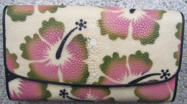 100% Genuine Long Chinese Rose Stingray Lady Wallet