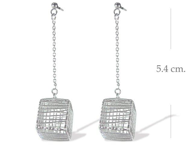 925 Sterling Silver Box Wire Dangle Earrings