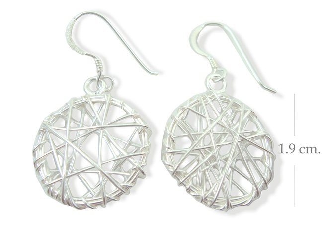 925 Sterling Silver Round Wire Dangle Earrings