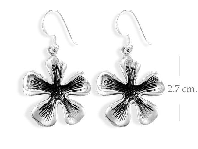 Sterling Silver Hawaiian Flower Dangle earrings