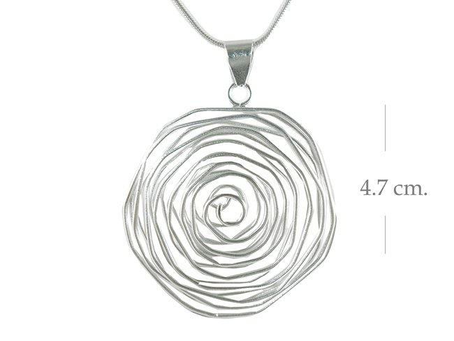 Sterling Silver Round Wavy Wire Pendant