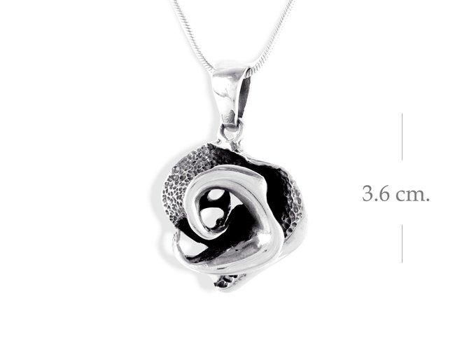 Vintage Black Rose 925 Sterling Silver Pendant