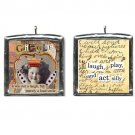 Giggle Girl Altered art collage pendant NECKLACE. Whimsical wearable art