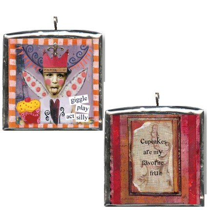 Cupcake Fairy art collage pendant NECKLACE cup cakes YUMMMMM