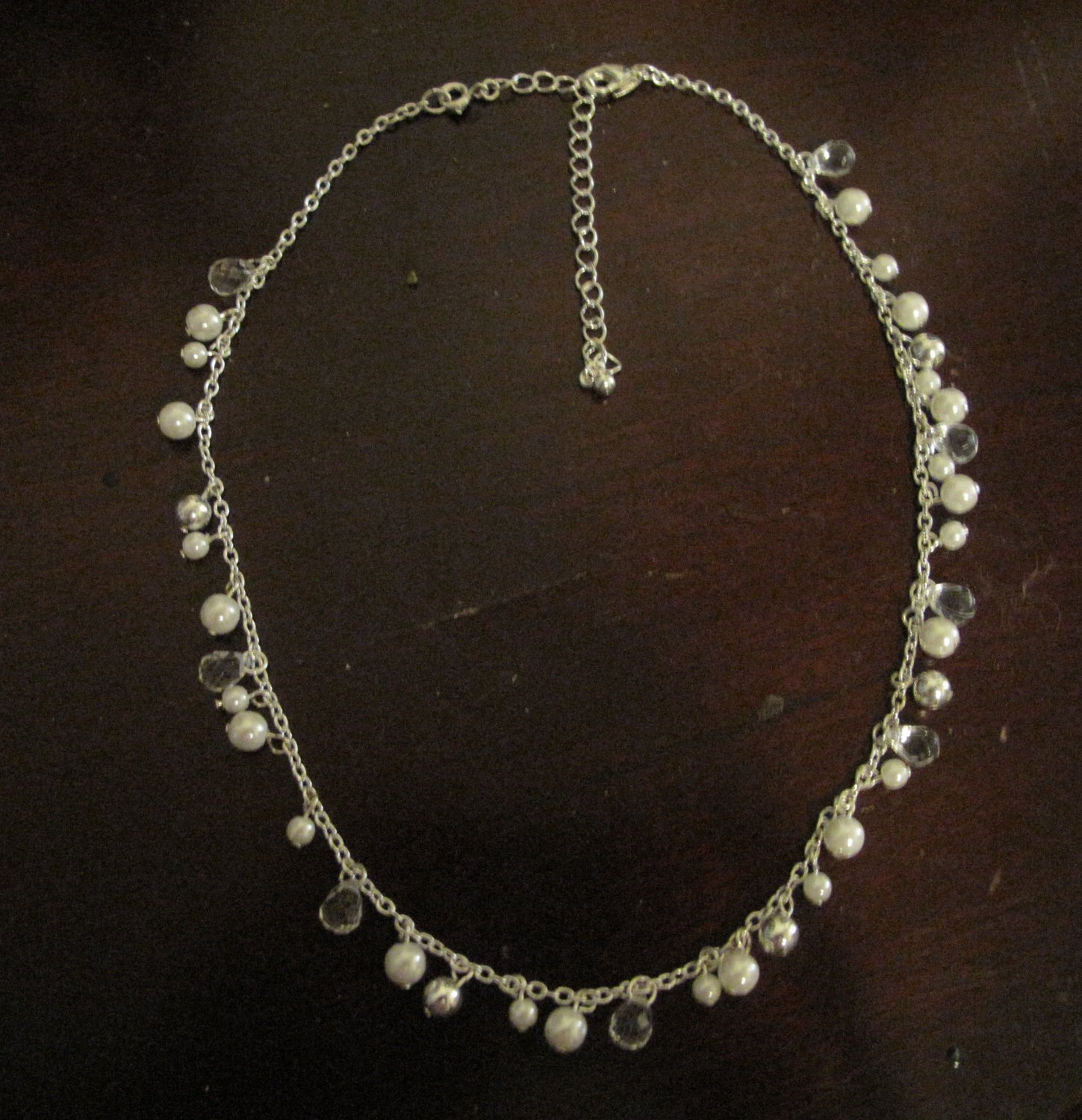 Women's Silvertone Faux Pearls and Beads Necklace, 16 inches