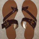 Reddish Brown Toe Slide Sandals Size 8