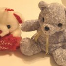 Plush Bears Stuffed Toys Set of Two White and Lavender