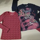 Set of 2 Long Sleeve T-shirts, Fushia with Multi-colored Dots & Dark Blue, L