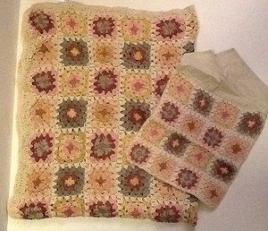 Patchwork Embroidered Throw Blanket With Matching Case