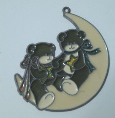Teddy Bears Sitting on Moon Wall Plaque Hanging