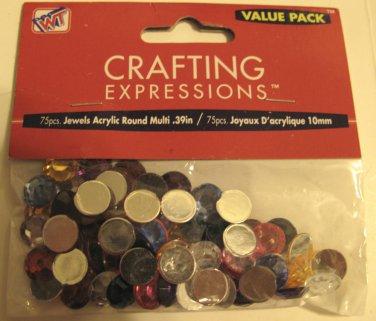 Round Multicolored Crafting Rhinestone Gems Acrylic  75 Piece