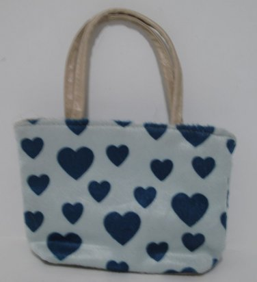 Girl's Small Zippered Purse Light Blue with Turquoise Hearts
