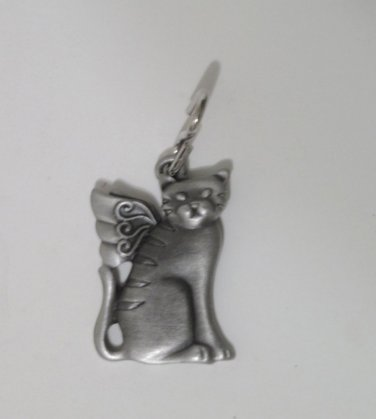 Cat with Wings Cat Collar Tag With Prayer
