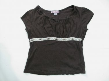 Girls Brown Shirt with Beaded Lace Trim Across Chest, Size L