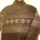 Women's Short Jacket Brown With White Print Size S