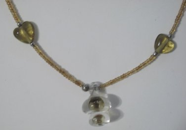 """Amber Colored Beaded Choker Necklace with Clear Pendant, 15"""""""