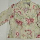Women's Cream Floral Print Blazer Jacket Size 10