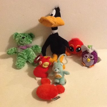 Assorted Plush Toys: Duck, Bear, Mickey Mouse Head, Furby, Neopet, Care Bear