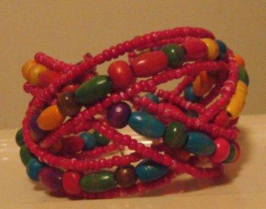 Multicolored Beaded Bangle Bracelet
