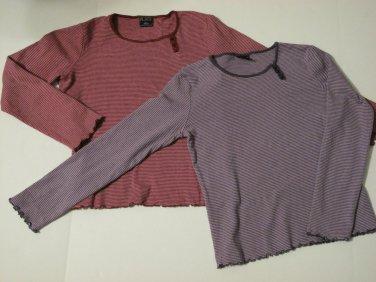 Girls Striped Long Sleeve Shirts Size L (10-12), Wine & Purple set of 2